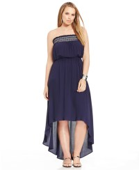 Lyst - Soprano Plus Size Strapless High-low Maxi Dress in Blue