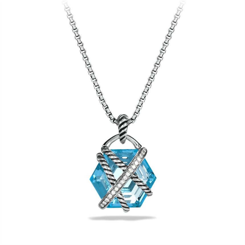 David yurman Cable Wrap Pendant with Blue Topaz and
