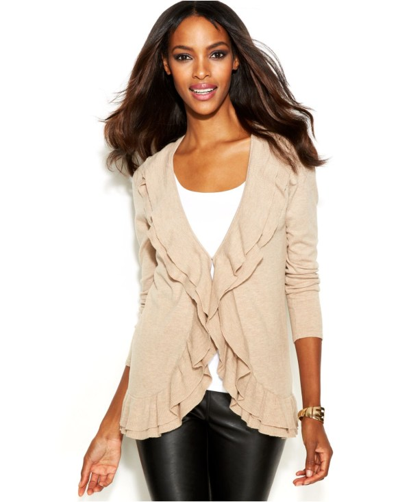 International Concepts Ruffle-trim Open-front Cardigan