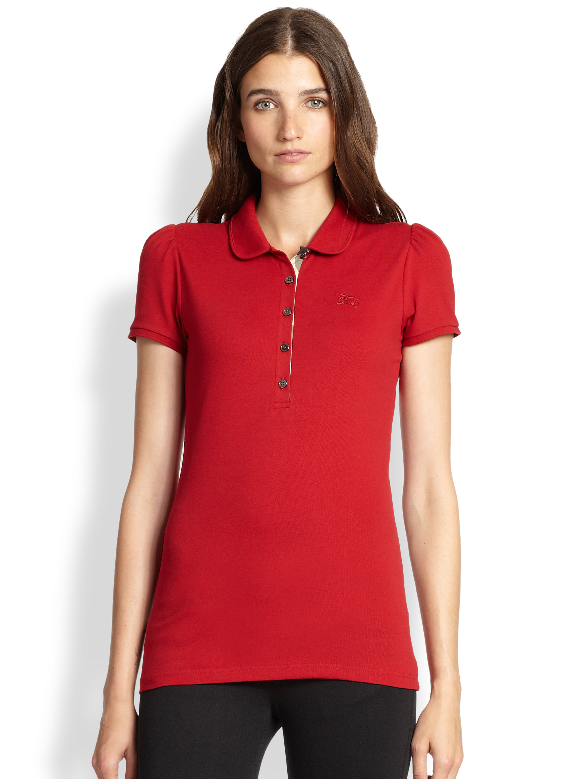 Lyst Burberry Brit Logo Polo Tee In Red