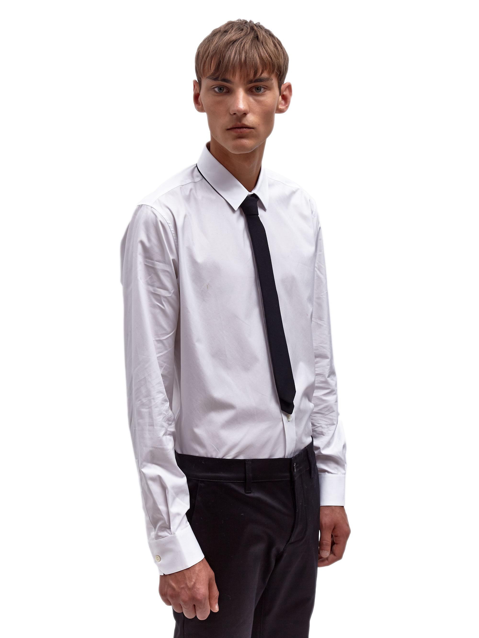 Saint laurent Mens Wool Skinny Tie in Black for Men