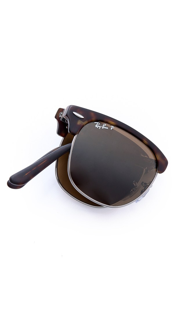 Ray-ban Clubmaster Folding Polarized Sunglasses In Brown