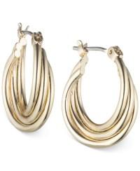 Nine west Rose Gold-tone Twisted Hoop Earrings in Gold | Lyst