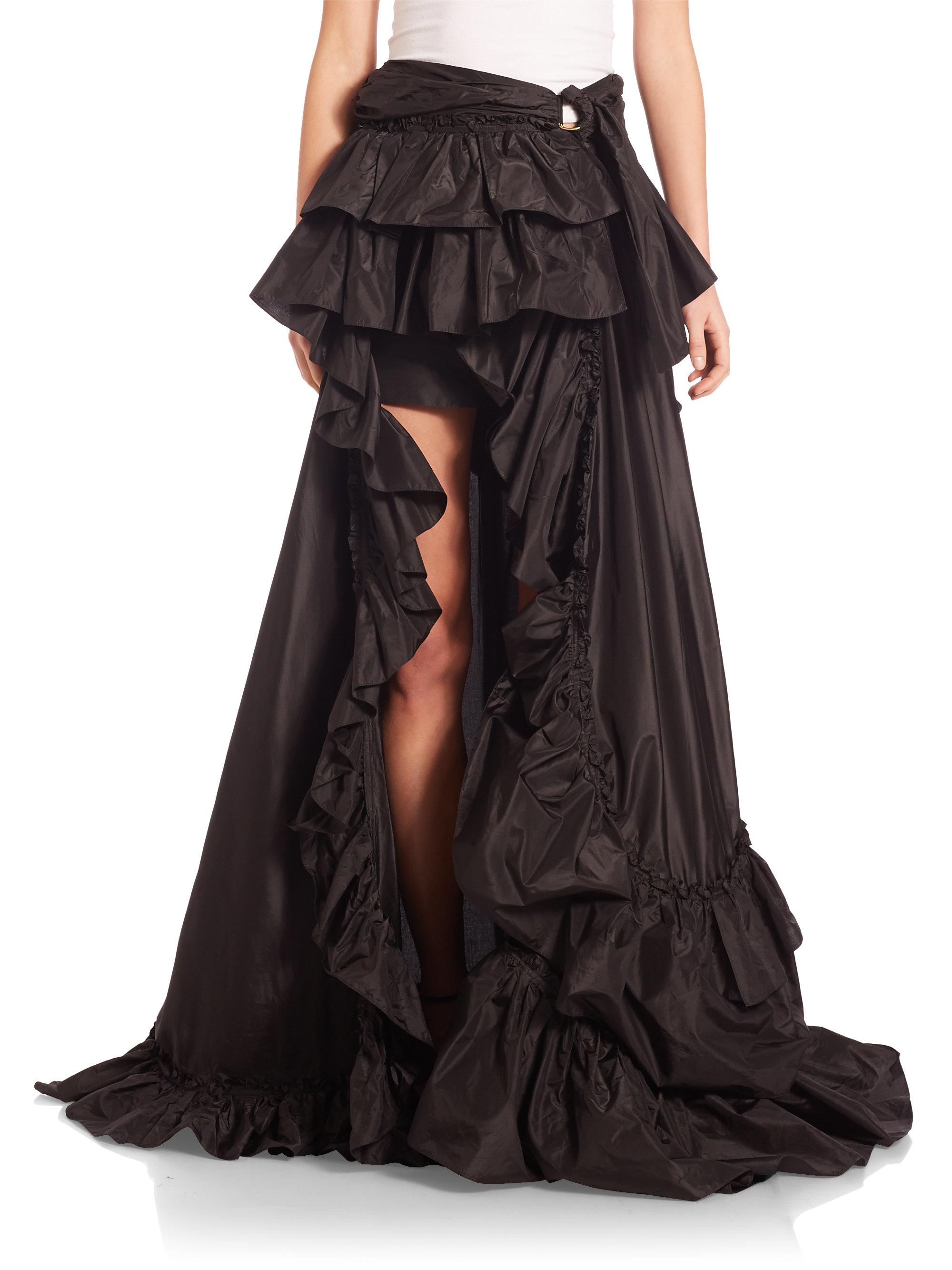 Roberto Cavalli Ruffled Taffeta Hi Lo Skirt In Black Lyst