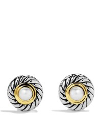 David yurman Cable Pearl Earrings With Gold in Metallic | Lyst
