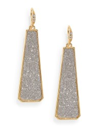 Abs By Allen Schwartz Glitter Drop Earrings in Silver ...