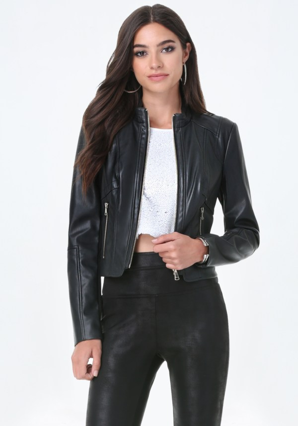 Lyst - Bebe Seamed Faux Leather Jacket In Black