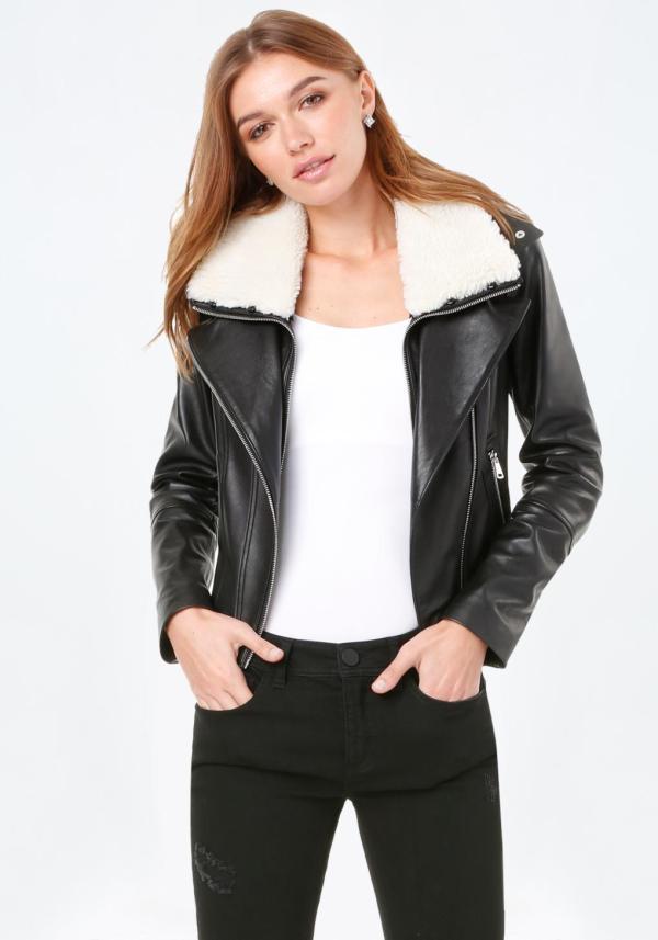 Lyst - Bebe Leather Moto Jacket In Black