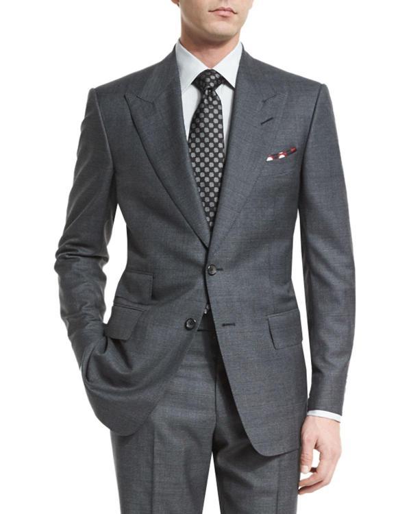 Tom Ford Windsor Base Peak-lapel Irregular-check Suit In Gray Men - Save 4 Lyst
