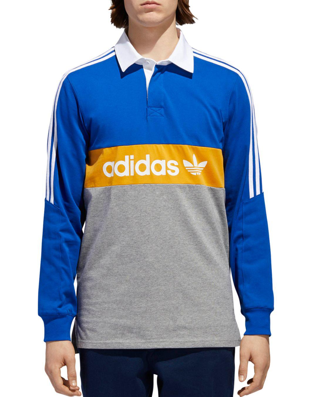 adidas Originals Heritage Rugby Polo Shirt in Blue for Men - Lyst