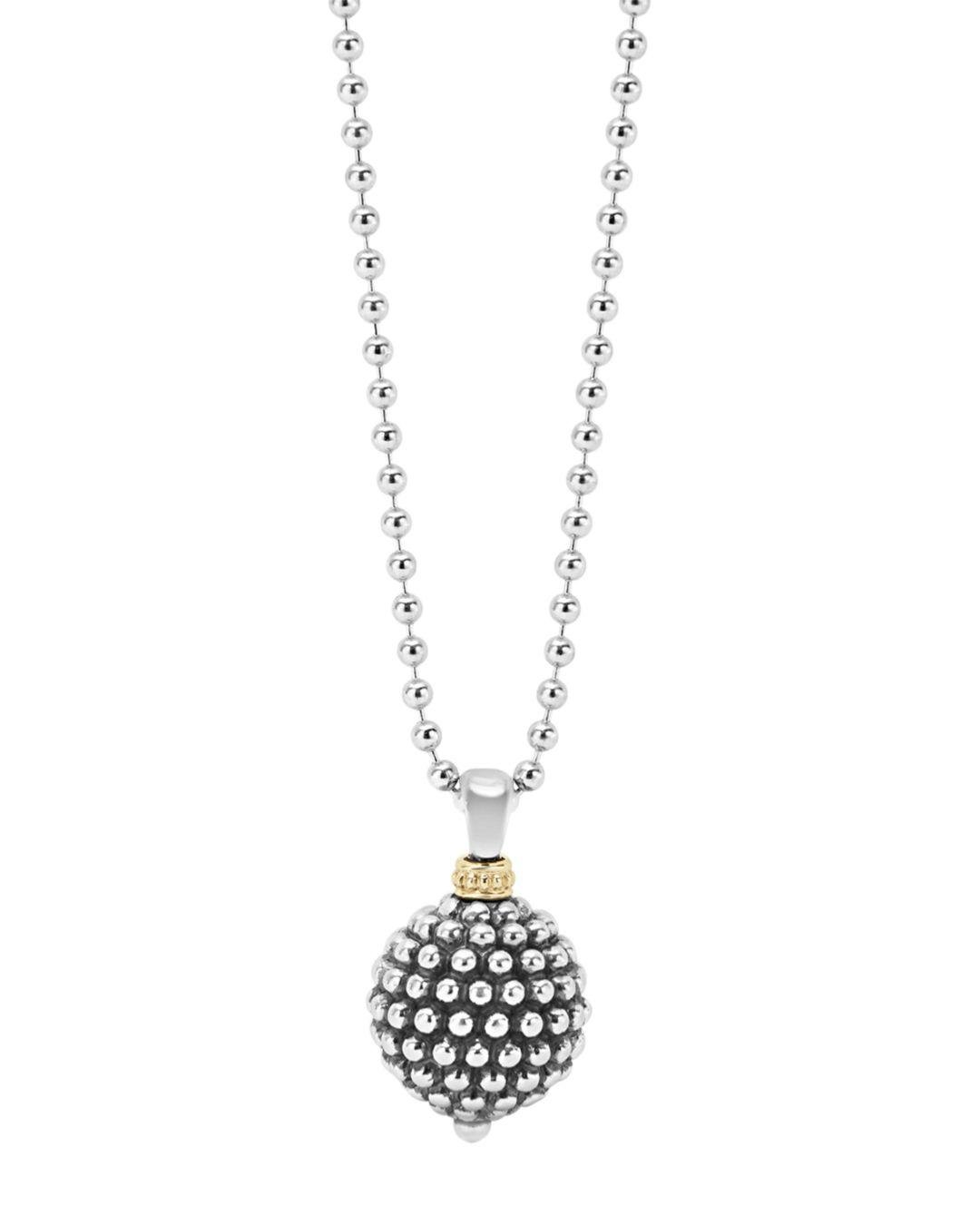 Lagos Sterling Silver Caviar Ball Pendant Necklace In