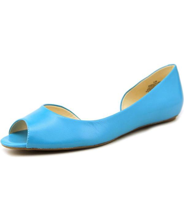 Nine West Bachloret Peep-toe Leather Flats In Blue Lyst