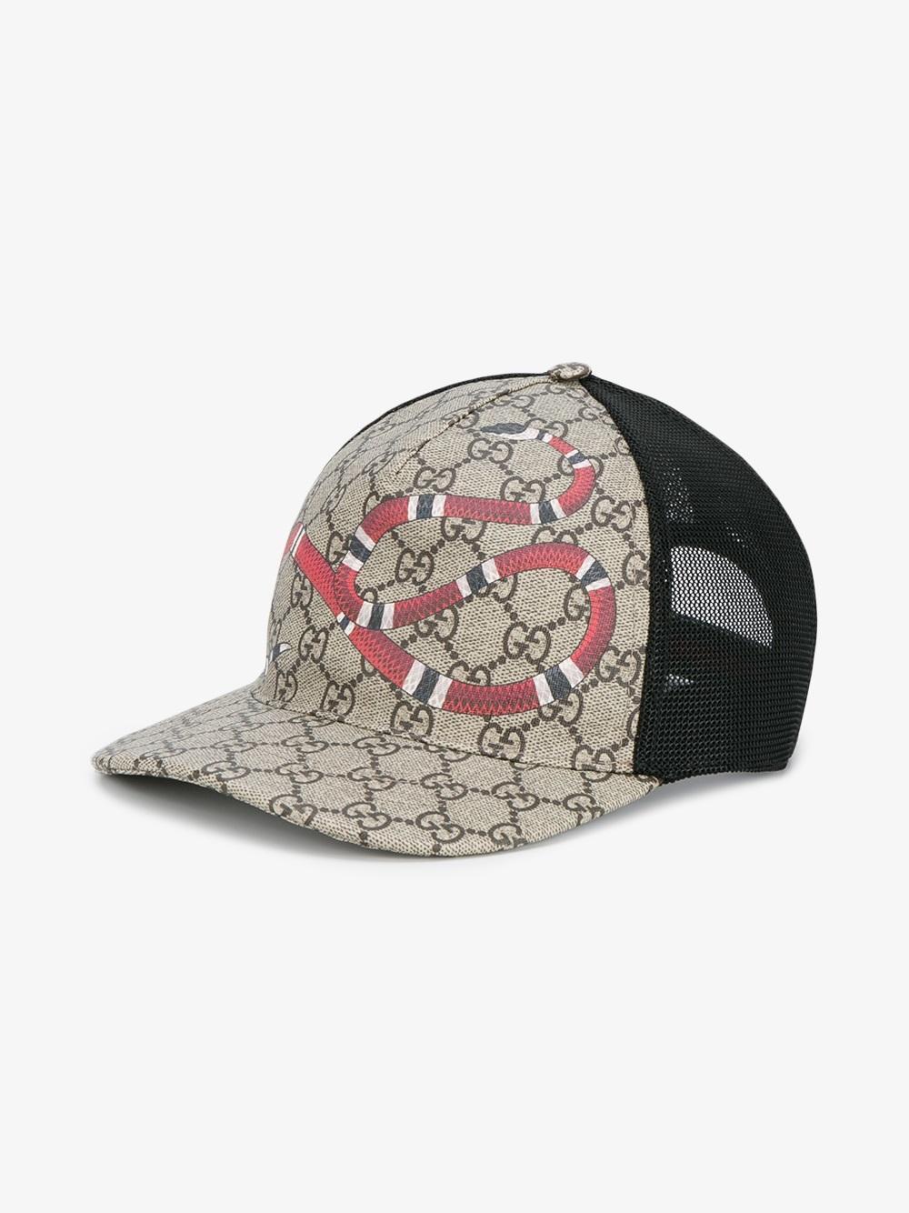 aed1d7fe84804 Lyst Gucci Snake Print Gg Supreme Baseball Cap In Brown - Modern ...