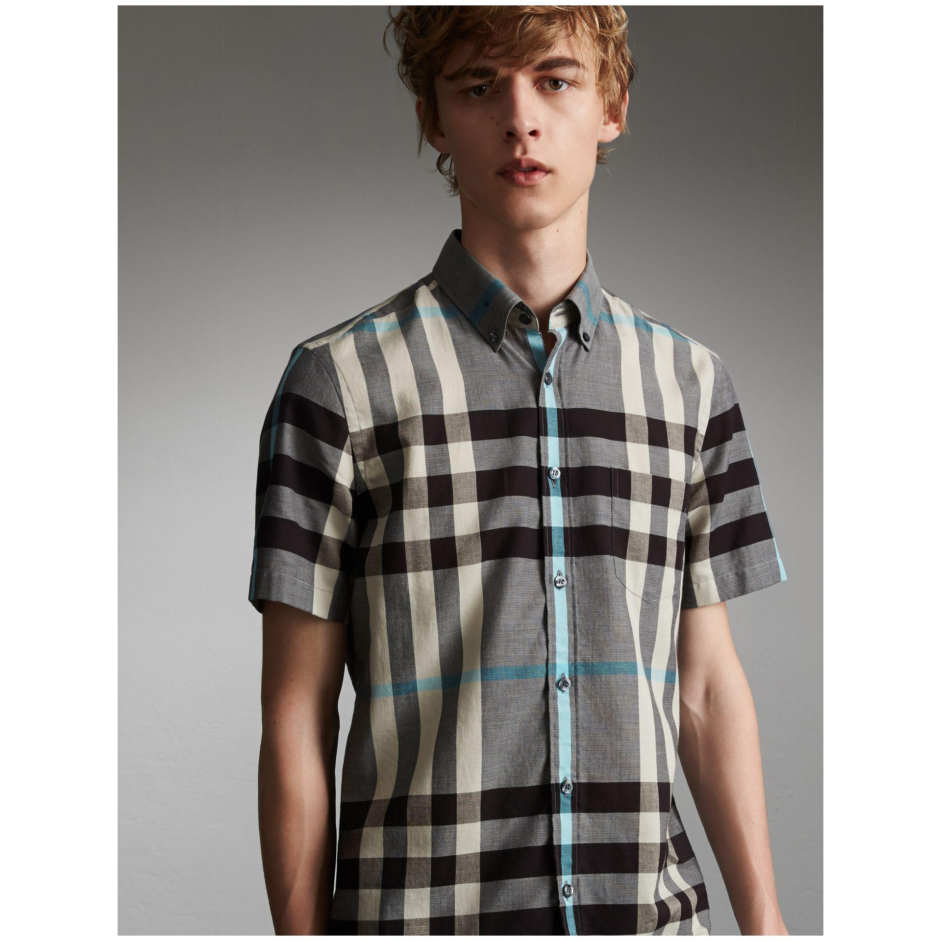 Burberry Button-down Collar Short-sleeve Check Cotton Shirt Mist Grey in Gray for Men - Lyst