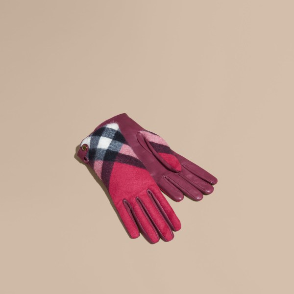 Lyst - Burberry Leather And Check Cashmere Gloves Fuchsia