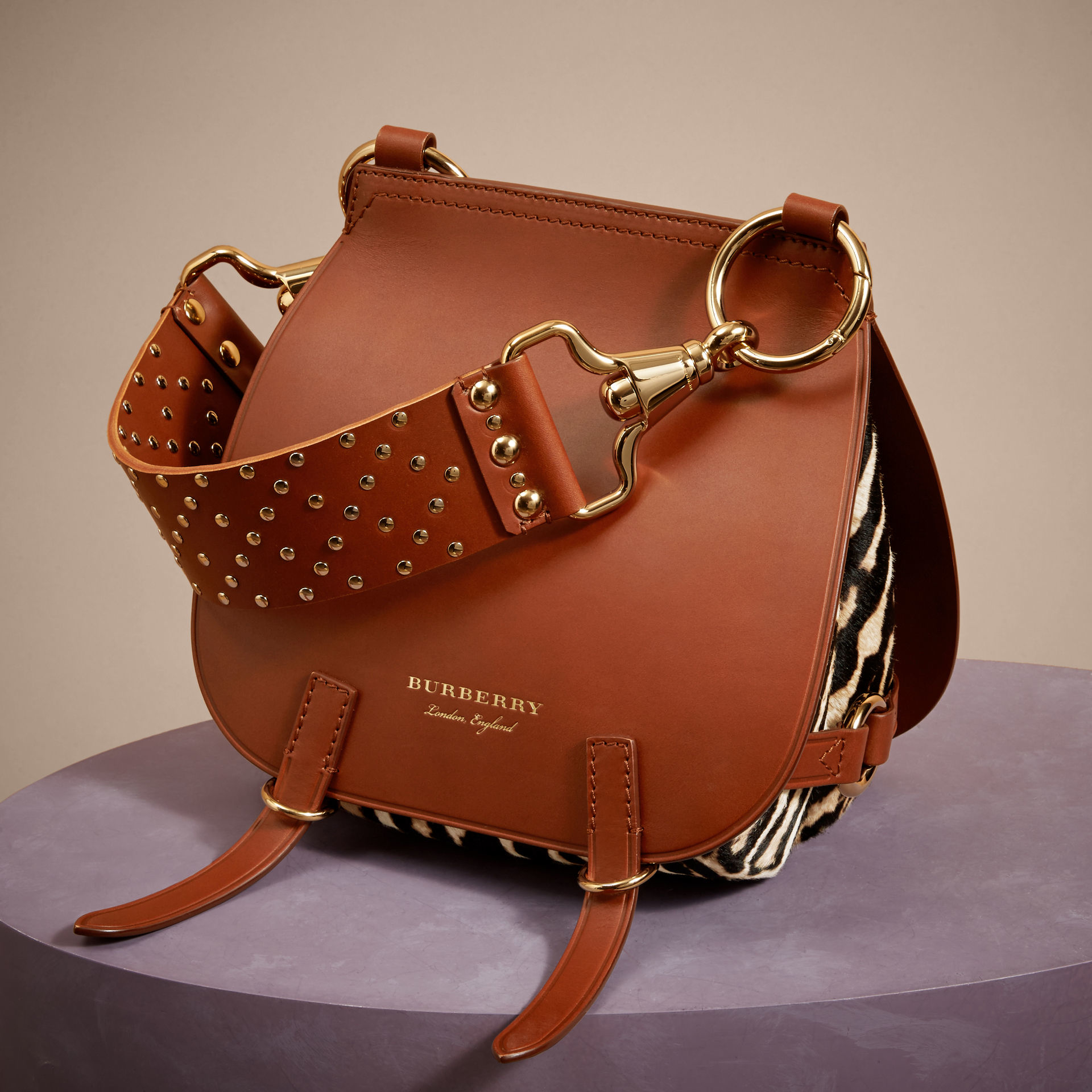 Burberry The Bridle Leopard-Print Calfskin And Leather Shoulder Bag in Brown - Lyst