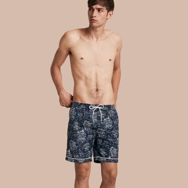 Lyst - Burberry Peony Rose Print Swim Shorts In Blue Men