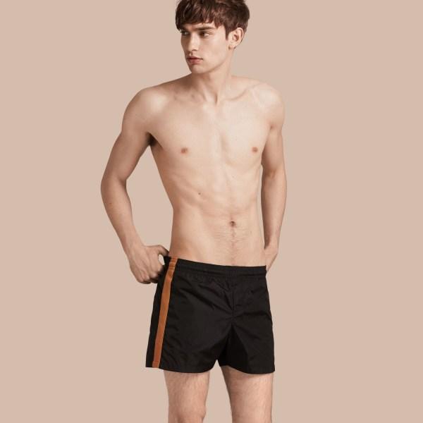 Burberry Stripe Detail Swim Shorts Black In Men
