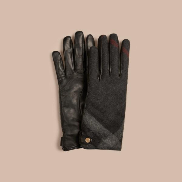 Burberry Leather And Check Cashmere Gloves Charcoal Lyst