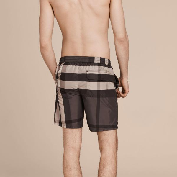 Lyst - Burberry Check Swim Shorts Charcoal In Gray Men