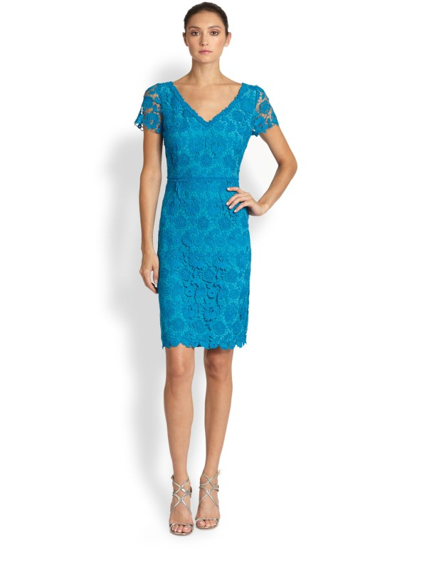 Lyst - Escada Swiss Lace Dress In Blue