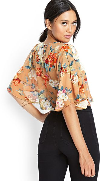 Forever 21 Sheer Floral Kimono Crop Top In Orange Tan
