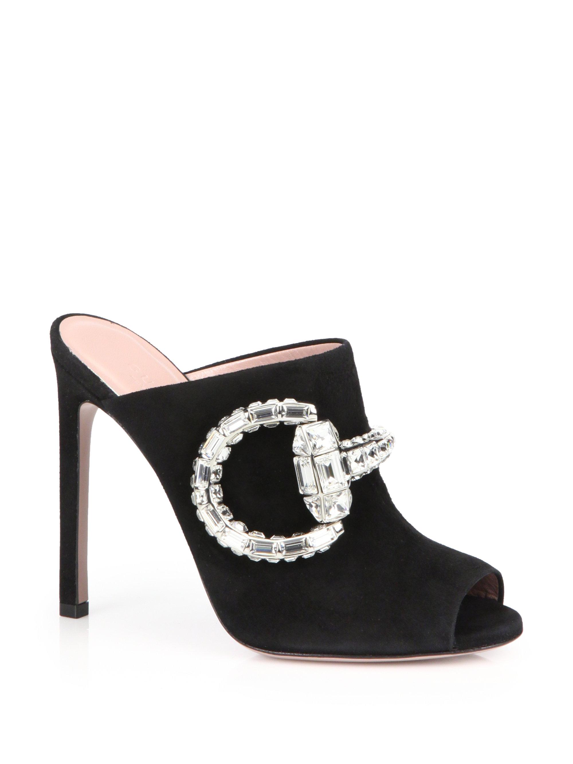208f8209e New Gucci Maxime Crystal Horsebit Suede Sandals Pink Sz 38 ...