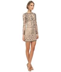 Lyst - Adrianna Papell Long Sleeve Beaded Cocktail Dress ...