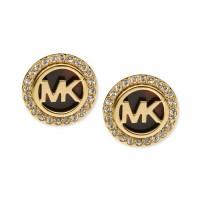 Michael Kors Goldtone Tortoise and Pave Logo Stud Earrings ...