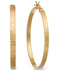 Macy's 14k Gold Large Diamond-cut Satin Hoop Earrings in ...