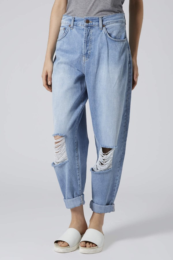 Lyst - Topshop Surf Ripped Baggy Jeans In Blue