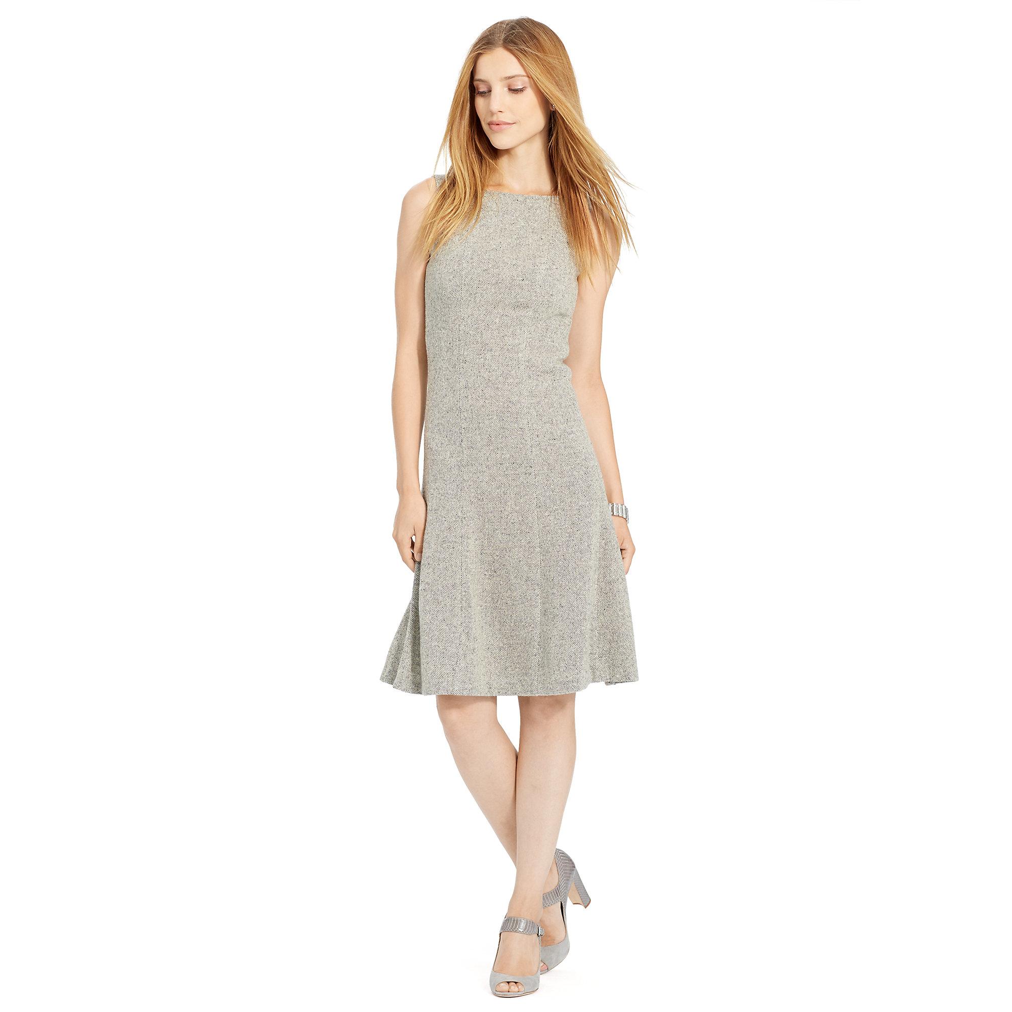 Lyst  Ralph Lauren Tweed Fitandflare Dress in Gray
