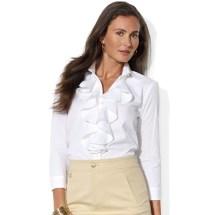 e3270b6d2a9717 White Long Sleeve Ruffle Front Blouse. Lyst - Lauren Ralph Long Sleeve Ruffle  Front