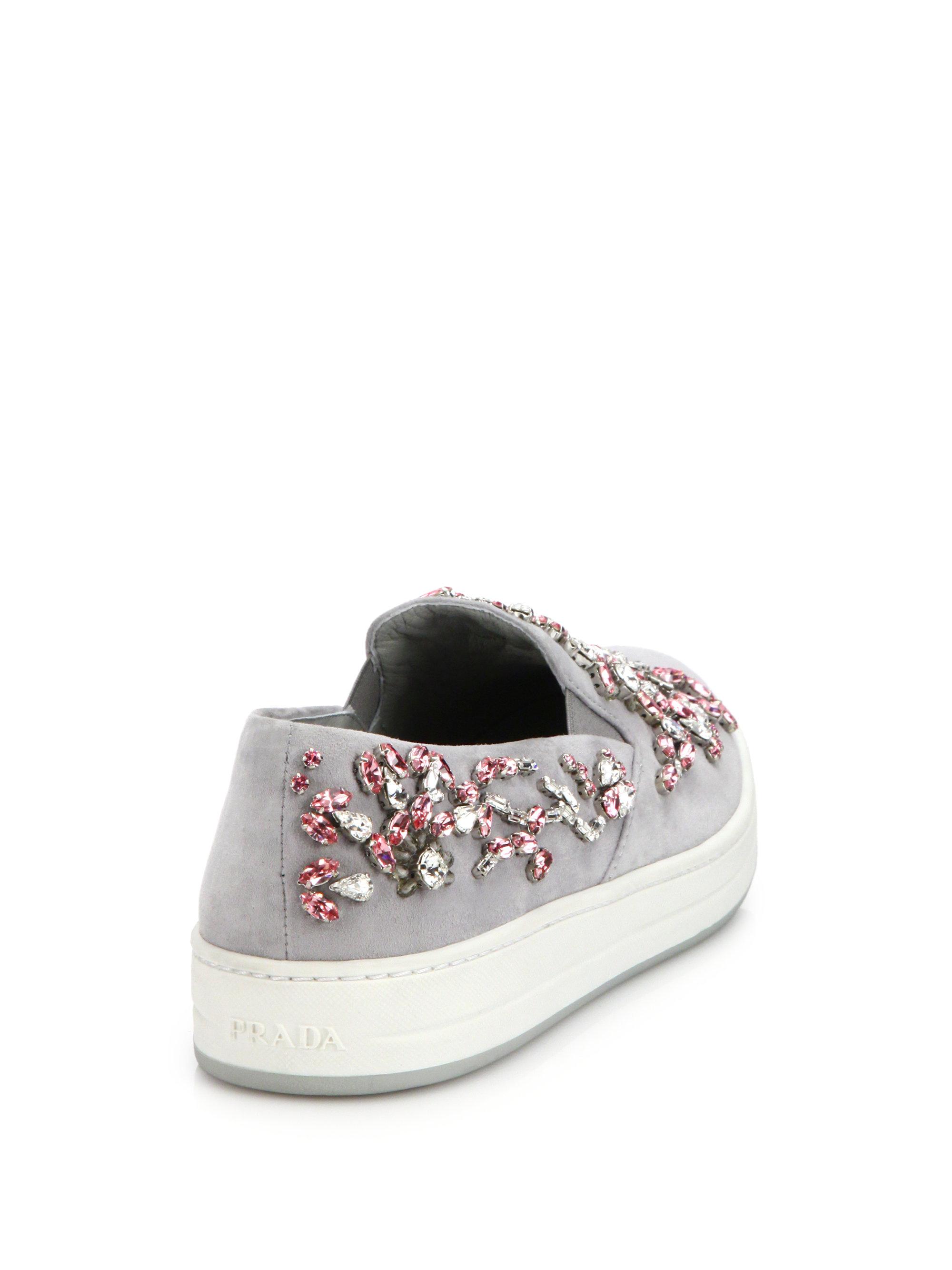 Prada Jeweled Suede Slipon Sneakers in Pink  Lyst