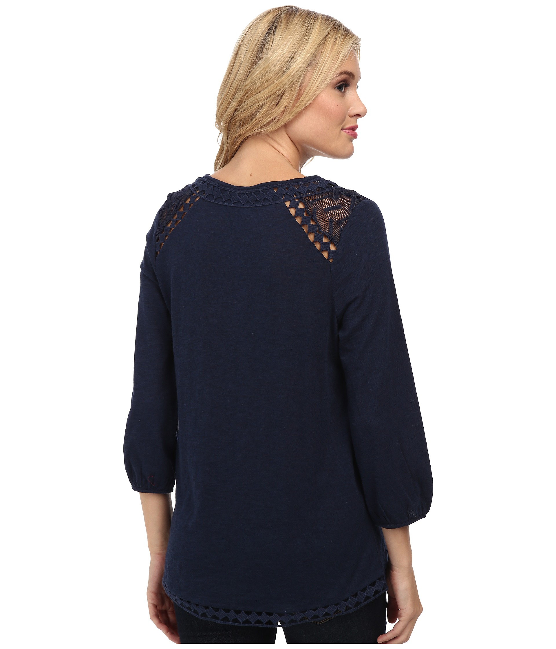 Lucky Brand Diamond Cut Out Top In Blue American Navy
