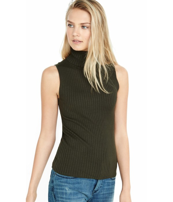 Express Sleeveless Ribbed Turtleneck Sweater In Green - Lyst