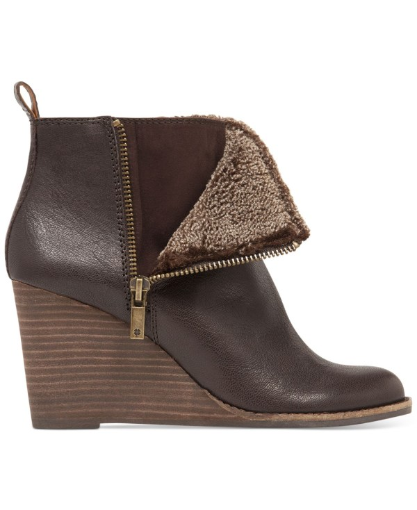 Lucky Brand Yorque Faux-fur Wedge Booties In Brown Lyst