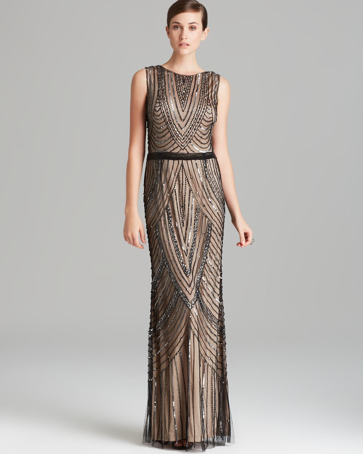 Adrianna Papell Gown  Sleeveless Beaded in Natural  Lyst