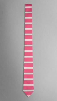 Lyst - Burberry Horizontal Stripe Silk Tie in Pink for Men
