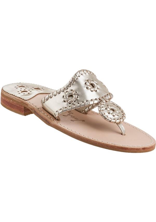 Jack Rogers Hamptons Thong Sandal Platinum Leather In