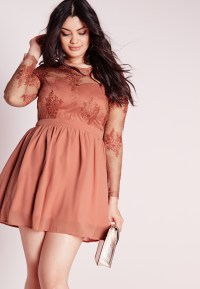 Lyst - Missguided Plus Size Lace Prom Dress Blush in Red