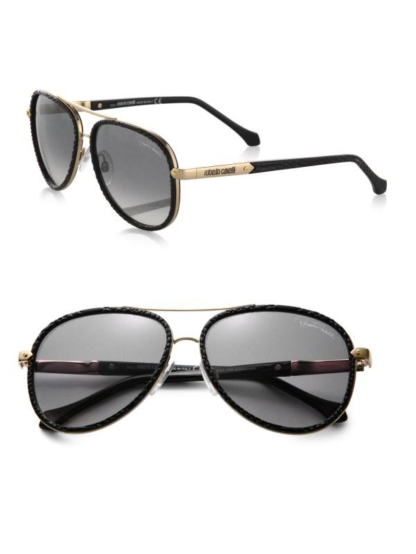 Roberto Cavalli Adhafera Pebbled Aviator Sunglasses In