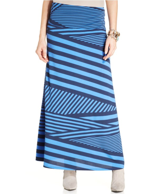 Eci Striped -line Maxi Skirt In Blue Lyst