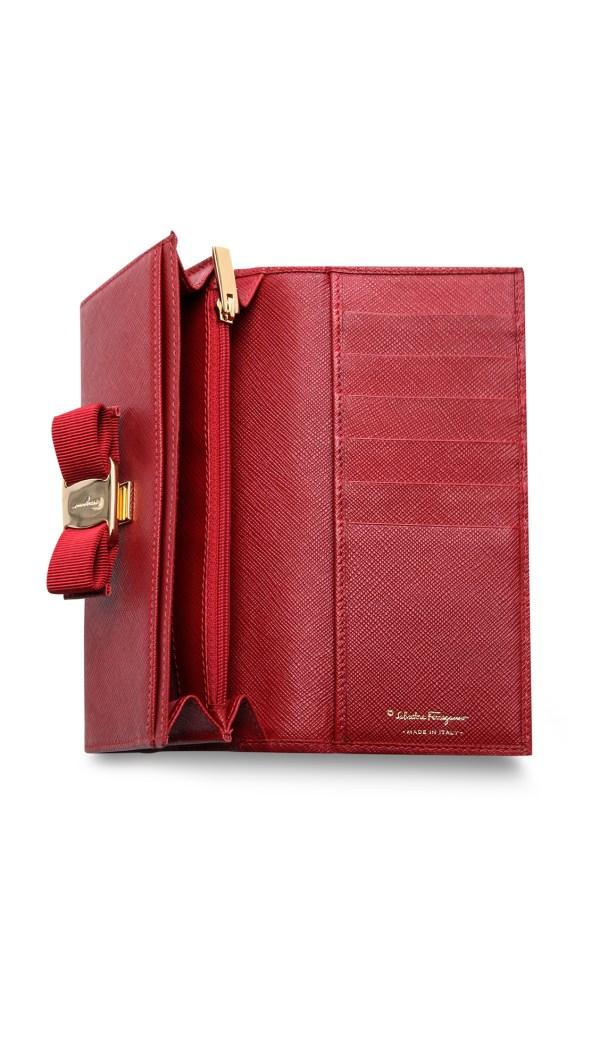 Ferragamo Vara Bow Wallet In Red Rosso Lyst