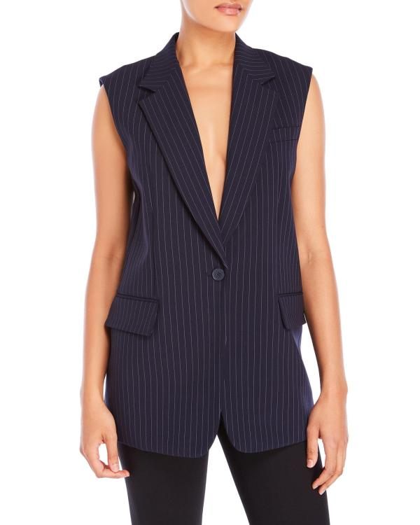 Dkny Pinstripe Notch Collar Vest In Blue Lyst