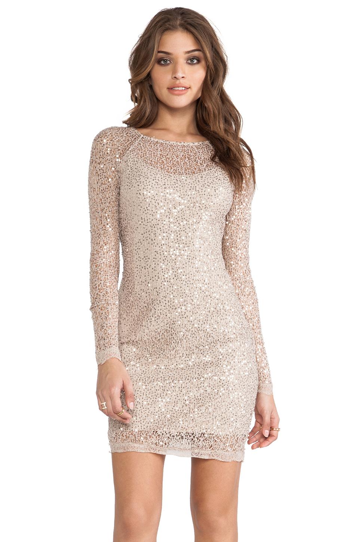 Lyst  Halston Long Sleeve Sequin Dress in Metallic