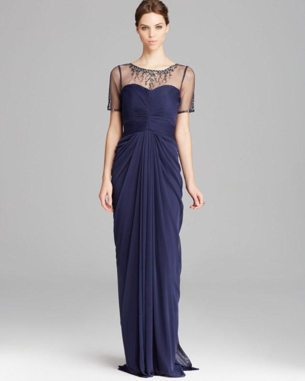 Short Sleeve Adrianna Papell Beaded Illusion Gown