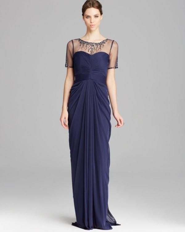 Lyst - Adrianna Papell Gown Short Sleeve Illusion Neckline