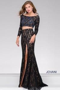 Jovani Lace Fitted Two-piece Long Sleeve Prom Dress in ...