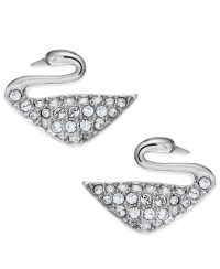 Swarovski Rhodium-plated Crystal Swan Stud Earrings in ...